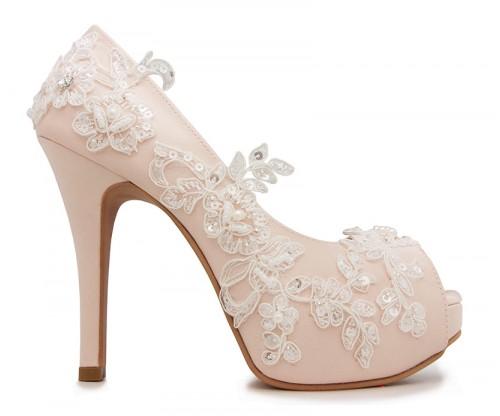 Lace Wedding Shoes.Elsa Light Beige Satin Lace Wedding Shoes