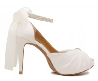 Audrey Ivory White Satin With Diamante Wedding Shoes (Ready Stock)