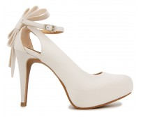 Ellen Ivory White Satin Wedding Shoes(Ready Stock)