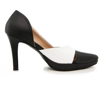Felicia Black PU Contrast Shoes