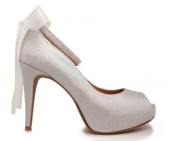 Freya Silver Glitter Wedding Shoes (Ready Stock)