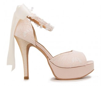 Noel Light Beige Satin With White Lace With Lace Ribbon Strap Wedding Shoes