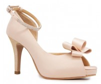 Becca Champagne Satin Bow Wedding Shoes