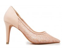 Raelynn Beige Satin With Lace Wedding Shoes(Ready Stock)
