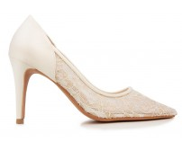 Raelynn Ivory White Satin With Lace Wedding Shoes(Ready Stock)