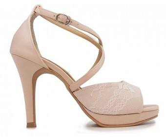 Carey Champagne Satin With Lace Wedding Shoes