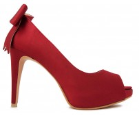 Eliza Bow Wine Red Silk Dinner Shoes (Ready Stock)