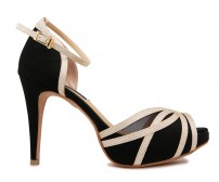 Lily Black Silk  Contrast Dinner Shoes (Ready Stock)