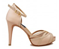 Lily Champagne Silk  Contrast Dinner Shoes (Ready Stock)