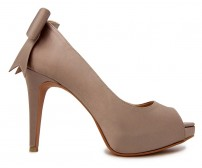 Eliza Bow Taupe Silk Dinner Shoes (Ready Stock)