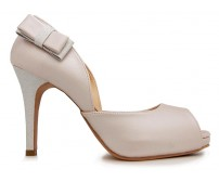Loren Light Beige Metallic PU With Bow Wedding Shoes