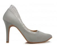 Blossom Grey Satin Wedding Shoes