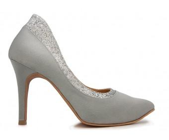 Blossom Grey Satin Wedding Shoes