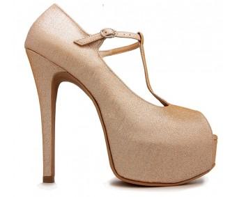 Portia Champagne Glitter Wedding Shoes