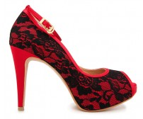 Cece Black Lace With Red satin Contrast Dinner Shoes (Ready Stock)