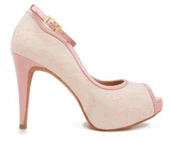 Cece Pink Lace Contrast Dinner Shoes (Ready Stock)