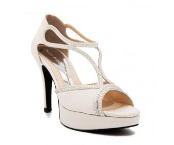 Elva Ivory White Satin Swarovski Rhinestone Wedding Sandals