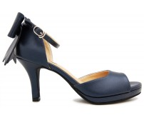 Carolyn Navy Blue PU Back Bow Sandals