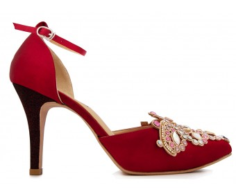 Kyla Wine Red Silk With Applique Dinner Shoes