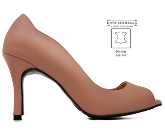 Cirila Coffee Brown Leather  Heels (Ready Stock)