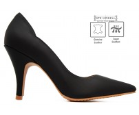 Charlotte Black Leather Super Comfort Heels (Ready Stock)