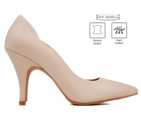 Charlotte Nude Leather Super Comfort Heels (Ready Stock)