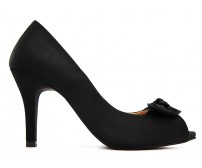 Adelina Black Satin Dinner Shoes