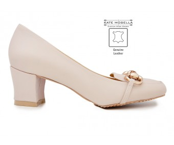 Livia Nude Leather Super Comfort Heels (Ready Stock)