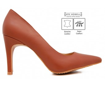 Ruby Brown Leather Super Comfort Heels (Ready Stock)