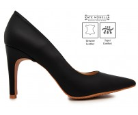 Ruby Black Leather Super Comfort Heels (Ready Stock)