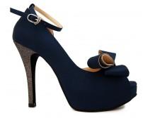 Brianna Navy Blue Silk Contrast Dinner Shoes (Ready Stock)