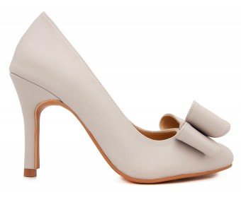 Bella Light Grey PU With Bow Casual Shoes