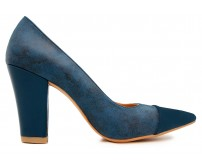 Ellie Blue PU Contrast Working Shoes (Ready Stock)