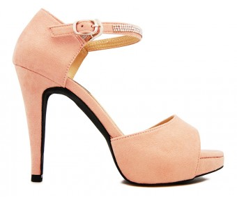 Calista Pink Suede With Diamante Dinner Shoes (Ready Stock)