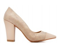Ellie Beige PU Contrast Working Shoes (Ready Stock)