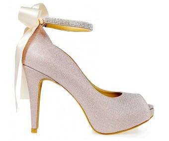 Freya Rose Gold Glitter Wedding Shoes (Ready Stock)