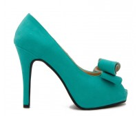 Agnes  Turquoise Suede Bow  Dinner Shoes