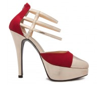 Griselda Gold and Wine Red Silk Contrast Dinner Shoes