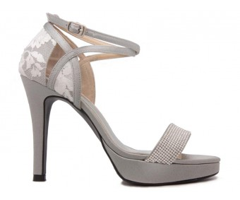 Abia Grey Satin With Diamante Wedding Shoes
