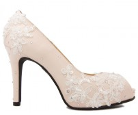 * Kate Light Beige Silk Swarovski Rhinestone Wedding Shoes