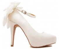 Arlenne Ivory White Satin Wedding Shoes(Ready Stock)