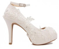 z(Sold out, custom made is available)* Elsa Ivory White Lace Wedding Shoes (Ready Stock)