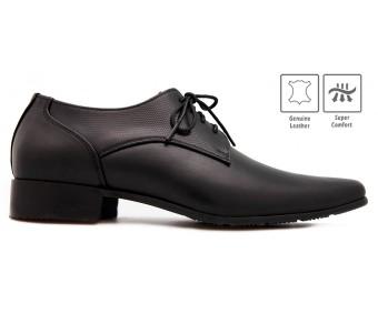Vincenzo Black Leather Custom Made Men's Shoes