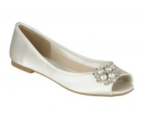 Zyana Ivory White Satin Brooch Wedding Flats