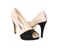 Kyra Black and White Satin Silk Casual Shoes