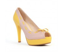 Ritsa Beige Yellow Colour Contrast Casual Shoes