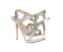 Jazlyn Silver Glitter Metallic Casual Sandals