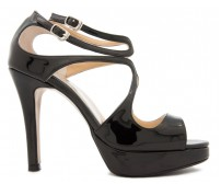Andie Black Patent Dinner Sandals