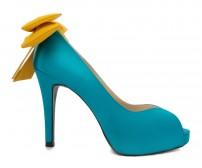 Bridget Customize Turquoise and Mustard Yellow Silk Dinner Shoes