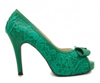 * Caris Green Silk Lace Dinner Shoes